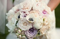 Wedding color is integrated into the bouquet through the light lavender roses while textural interest is added though the use of small spray roses. Color contrast is achieved by adding a few ebony-centered anemones to the pastel bouquet. Gypsophila Bouquet, Anemone Bouquet, Pink Rose Bouquet, Hydrangea Bouquet, Anemones, Pastel Bouquet, Anemone Flower, Bouquet Flowers, Summer Wedding Bouquets