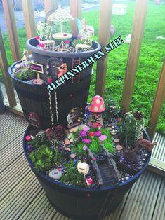 Fairy Garden Pots, Indoor Fairy Gardens, Fairy Garden Houses, Gnome Garden, Miniature Fairy Gardens, Garden Art, Garden Design, Fairy Gardening, Garden Kids