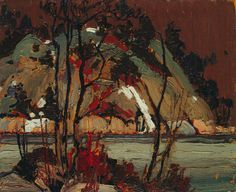 pablo: tom thomson - early spring in cauchon lake - 1916 Emily Carr, Group Of Seven Artists, Group Of Seven Paintings, Canadian Painters, Canadian Artists, Abstract Landscape, Landscape Paintings, Abstract Trees, Oil Paintings