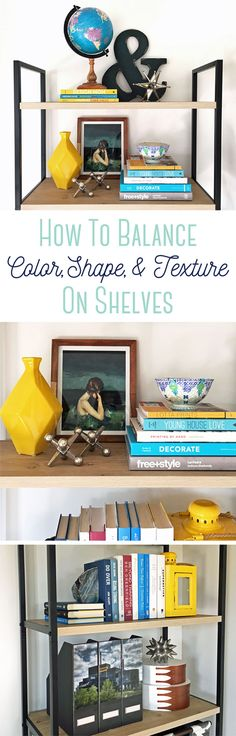 """Love this video that explains how to use color, shape, and texture to """"theme"""" your bookshelves. The same tips work for decorating a whole room too. Watch the video."""