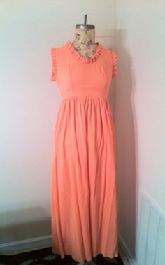 Sale 60s 70s Orange Ruffle Empire Waist Gown by PetitChatVintage, $20.00