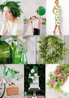 Flash #Green #Wedding #Styling Ideas Mood Board from The Wedding Community