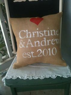 #Custom #Wedding Burlap Pillow for Valentines, Wedding or Gift by Burlap Heartstrings | Hatch.co