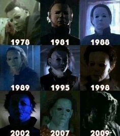 I also like this one as it shows Michael Myer's appearance in all films since the original film. I also like his mask with it's blank expression to make him seem more inhuman while killing so I would like a mask for my killer. Slasher Movies, Horror Movie Characters, Best Horror Movies, Classic Horror Movies, Scary Movies, Ghost Movies, Awesome Movies, Halloween Film, Halloween Horror