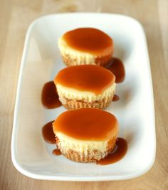 Salted caramel mini cheesecakes.