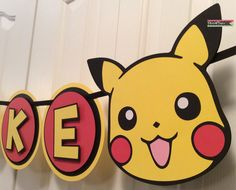 Custom Pokemon Pikachu Party Banner by on Etsy Pokemon Party Decorations, Pokemon Decor, Pokemon Craft, 9th Birthday Parties, 7th Birthday, Birthday Ideas, Pokemon Birthday Cake, Cute Pikachu, Origami
