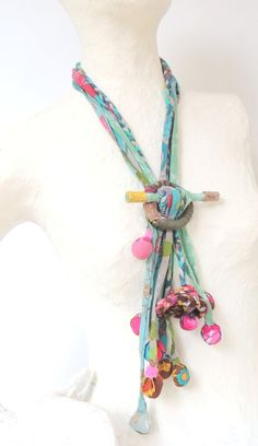 Fabric necklaceBolo style bohemian hippie necktie