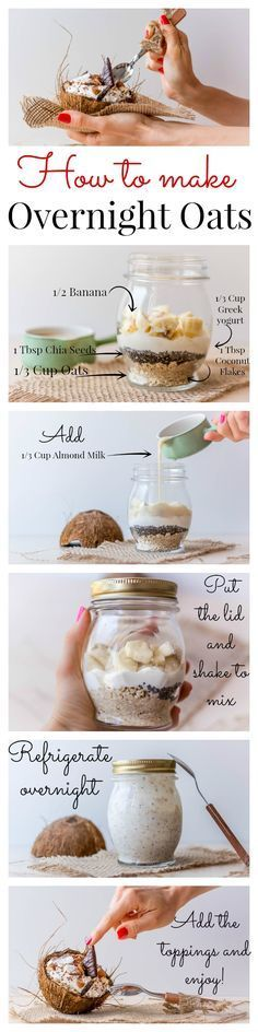 Thai Banana Chia Pudding Recipe Banana Coconut Overnight Oats How to make Overnight Oats, plus an amazing recipe idea!Banana Coconut Overnight Oats How to make Overnight Oats, plus an amazing recipe idea! Healthy Snacks, Healthy Eating, Healthy Recipes, Good Food, Yummy Food, Tasty, Banana Coconut, Thai Banana, Coconut Milk