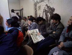 """Paul Graham. """"Beyond Caring - Man Reading Paper, Bloomsbury DHSS"""". 1985. London, England, UK."""