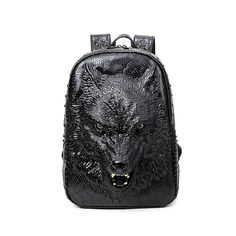 Aibag Personalized 3D Wolf PU Leather Casual Laptop Backpack School Bag >>> Awesome product. Click the image : Travel Backpack
