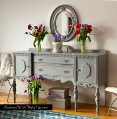 Paris Grey Antique Sideboard by Orphans With Makeup ~ shared at DIY Sunday Showcase Link Party on (Saturdays at CST). Paint Furniture, Furniture Projects, Furniture Makeover, Dresser Makeovers, Refurbishing Furniture, Furniture Design, Diy Projects, Buffet Antique, Antique Sideboard