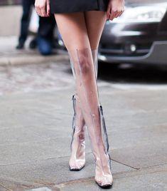 Transparent Thigh High Rain Boots