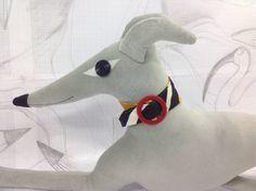 greyhound animal decorative pillow / cushion  handmade using  light grey/silver cotton velvet