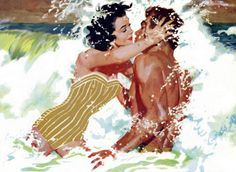 """Robert Meyers.    Impromptu kiss in the surf. She is after a man. Hope he is marriage material. This painting illustrated the story """"The Girl Next Door"""" in the Saturday Evening Post in October 1956."""