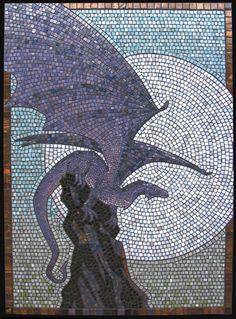 mosaic, dragon, vitreous glass tesserae w/ black grout on cement board - direct w/ mortar