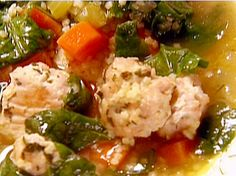 Italian Wedding Soup from FoodNetwork.com.. used 1 tbsp dry parsley ilo fresh, 1/2 c parm (no romano), 1 # ground turkey..add 1 tsp paprika, more garlic, 1 tsp onion powder, used half chick broth, half beef .  used a tsp dried dill ilo fresh