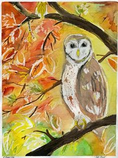 That Artist Woman: Owl Projects. Love this one with the oil pastel/water color resist! Owl Art, Bird Art, Fall Art Projects, Animal Projects, 6th Grade Art, Autumn Art, Autumn Painting, Painted Paper, Art Lesson Plans
