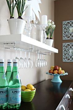 Love the floating shelf with the wine glass attachment. Great way to keep the dining room wall more open yet useful. IHeart Organizing: IHeart My Home - Home Tour!