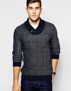 Selected+Homme+Shawl+Neck+Knitted+Jumper