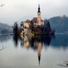 A dreary winter for only adds to the mystical beauty of Lake Bled. Photo courtesy of ahasson on Instagram.