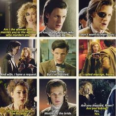 The Doctor and River. River and the doctors relationship is so confusing for non whovians but man sometimes I don't want the episode to end!