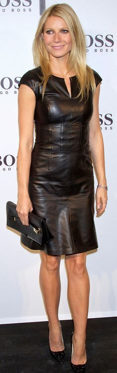Who made  Gwyneth Paltrow's black leather dress that she wore in Madrid on October 25, 2012?