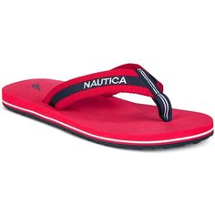 Nautica Women's Garland Flip Flops ($20) ❤ liked on Polyvore featuring shoes, sandals, flip flops, red, red shoes, summer shoes, summer flip flops, red flip flops and red sandals