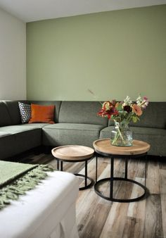 Binnenkijken in ... een woonkamer met een groene hoekbank in Nieuwegein na STIJLIDEE Interieuradvies, Kleuradvies en Styling New Living Room, Home And Living, Room Colors, Wall Colors, Interior Paint, Interior Design, Next At Home, Interior Inspiration, Interior Architecture