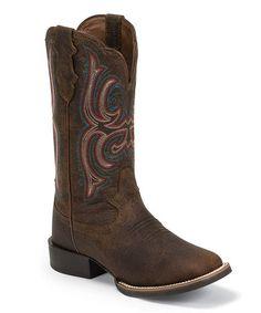 Look what I found on #zulily! Dark Brown Copper Kettle Buffalo Leather Western Boot #zulilyfinds