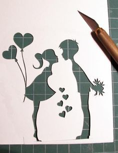 Boy Girl paper cut - cute