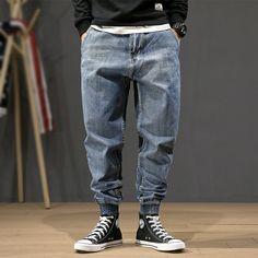 Denim Cargo Pants, Harem Pants Men, Trouser Pants, Ripped Jeans Men, Distressed Denim Jeans, Men's Jeans, Denim Fashion, Fashion Pants, Jeans Material