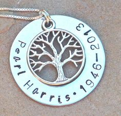 memorial necklace rememberance necklace tree of by natashaaloha, $45.00