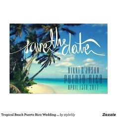 Tropical Beach Puerto Rico Wedding Save the Date