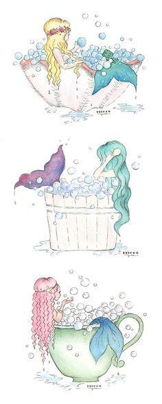 Adorable Mermaid Bath Bubble Bath Art - Super cute Mermaid Bathroom Decor