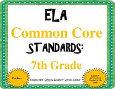 These 7th Grade COMMON CORE ELA Posters are sure to add vibrant color to your classroom decor! These vibrant colored posters will surely be a great EYE-CATCHER for your students, as well!! More importantly, these posters will help you account for EVERY COMMON CORE ELA Standard when teaching.   Included are ALL Literature and Informational Standards for 7th Grade!