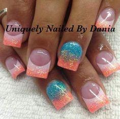 toe nail tips Manicures Hot Nails, Pink Nails, Glitter Nails, Color Nails, Glam Nails, Shellac Nails, Acrylic Nails, Nail Polish, Nail Nail