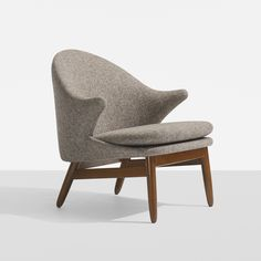 Lot 157: Hans Olsen. lounge chair. 1956, teak, upholstery. 29 w x 27 d x 27¾ h in. result: $2,500. estimate: $2,000–3,000.