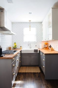 """""""The small kitchen was a challenge and I had to make the best with the space I had."""" Justin mostly used IKEA to update the compact room."""