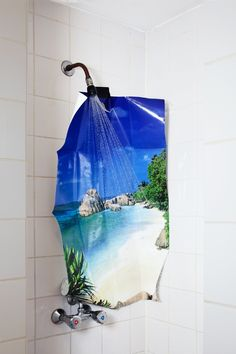 sunny beach poster in the shower
