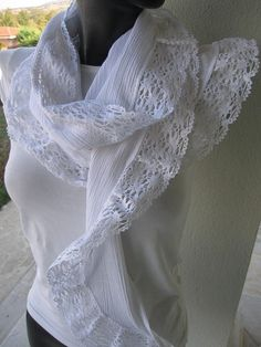 White natural cotton lace ruffled long scarf, women's Scarves Fashion accessories by Bella Turka on Etsy, $20.00