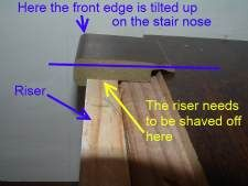 Good Here In This Photo Is How Laminate Stair Nose Is Not Level And Needs To Be