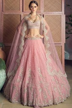 Be a classy bride this summer in this refreshing pink lehenga by 🌸 ⠀ .⠀ Tag the bride-to-be whom you want to see in this beautiful outfit on their big day😍 ⠀ . Pink Bridal Lehenga, Designer Bridal Lehenga, Pink Lehenga, Indian Bridal Lehenga, Designer Lehanga, Lehenga Dupatta, Bridal Lehenga Online, Lehenga Style, Designer Wear