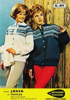 Jæren 871 Embroidery Patterns, Knitting Patterns, Norwegian Knitting, Vintage Fashion 1950s, Colour Combinations, Vintage Knitting, Jumpers, Tatting, Knit Crochet