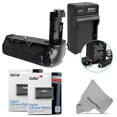 Battery Grip for Canon EOS 7D Mark II BG-E16 DSLR + 2 LP-E6 Batteries + Charger