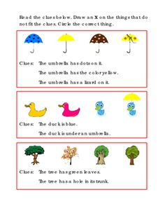 Thinking+Skills+Clues+Umbrellas+Ducks+Trees+Draw+X+On+the+things+that+do+not+fit.+Tools+For+Common+Core,+Critical+Thinking,+Early+Intervention,+Kindergarten+Reading.+1+page.+