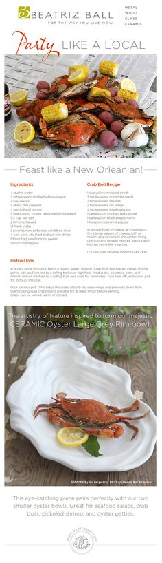 """Plan a spring/summer crab boil New Orleans style with seafood Gulf, lake and bayous surrounding New Orleans.  Add some crabs, crawfish, vegetables, lots of crab boil and you and your friends are ready to """"party like a local""""!   Serve it all up on Beatriz Ball CERAMIC Oyster Bowl and it looks just as good as it tastes!"""