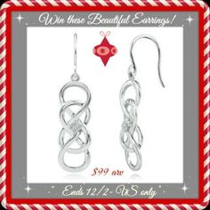 Win INFINITY X INFINITY™ DANGLE EARRINGS WITH DIAMOND ACCENTS IN STERLING SILVER!