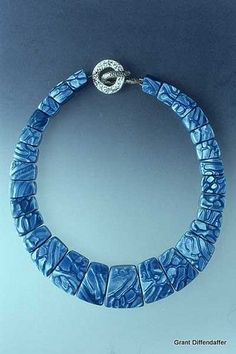 blue polymer clay necklace/bracelet