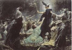 Souls on the Banks of the Acheron is a Symbolist Oil on Canvas Painting created by Adolf Hirémy-Hirschl in It lives at the Belvedere Palace and Museum, Vienna in Vienna. The image is in the Public Domain, and tagged Death in Art. Inspirational Artwork, Gustav Klimt, Art Noir, Art Ancien, Art Japonais, Traditional Paintings, Classical Art, Art Graphique, Greek Gods