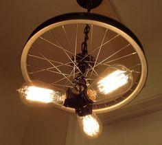 Hanging Industrial Chandelier Made From Repurposed Bike Tire Rim / Wheel Rim / 3 Bulbs